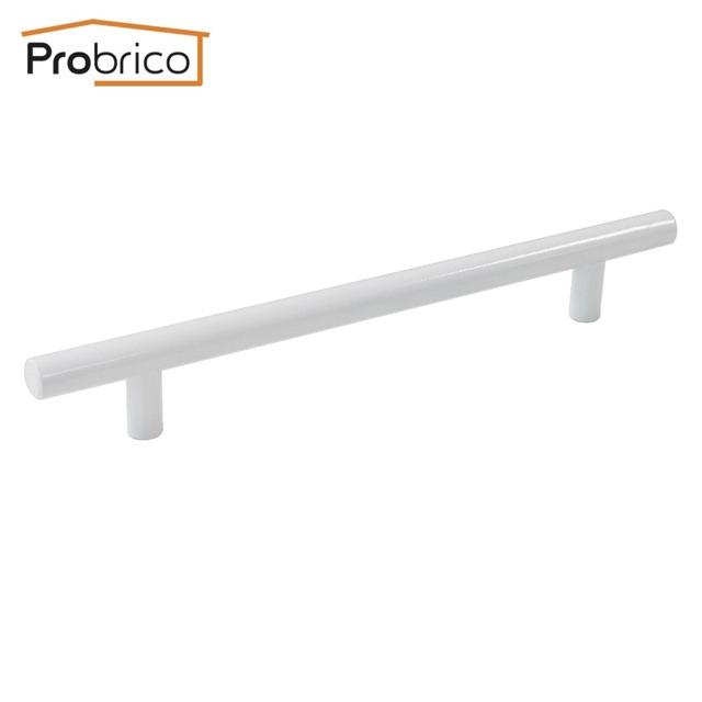 Probrico 10 PCS Branco Aço Inoxidável Diâmetro 12mm Buraco em Buraco 160mm Gabinete Bar T Botão Puxador de Gaveta puxar PD2283HWH160