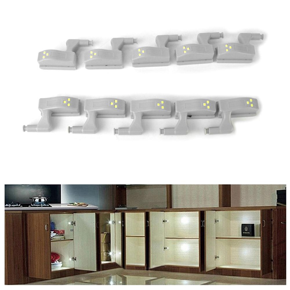 10pcs Universal LED Under Cabinet Light Cupboard Inner Hinge Lamp Closet Wardrobe Sensor Light Home Kitchen Night Light