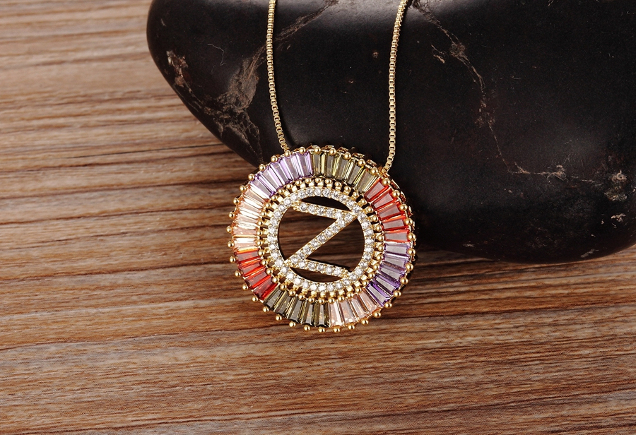 New Arrival Gold Color Micro Pave Rainbow CZ Cubic Zirconia A-Z Initials Letter Pendant Necklaces For Women Girls Fine Jewelry 3