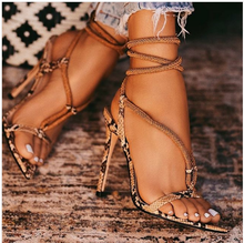Liren 2019 New Fashion Sexy Snake Pattern Lady Gladiator Sandals Cross-tie Lace-up High Thin Heel Open Pointed Toe