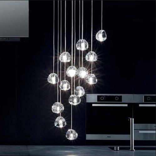 Mizu 15 Light Pendant by Nicolas Terzani from Terzani Suspension Lamp Chandelier Gold/ Transparent Lighting Fixture Dining Room