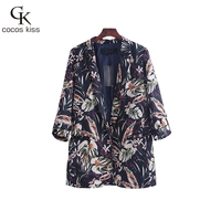 2017 New Womens Print Beautiful Personality National Style Coat Casual Pocket Fashion Lady S Special Wonderful