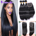 8A Brazilian Virgin Hair with Closure Straight Hair Extension Lace Closure Mink Brazilian Hair Weave Bundles Human Hair Bundles
