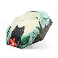 2018 cartoon small student pocket umbrella black coating sunscreen sun umbrella kids compact five folding umbrella shade parasol