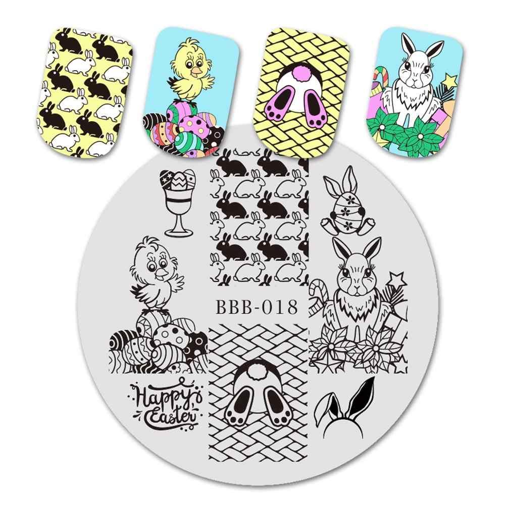 BeautyBigBang esmalte de uñas patrón de Festival redondo sello de uñas de Pascua estampado de huevo y conejo plantilla placas de imagen placa de sello de uñas