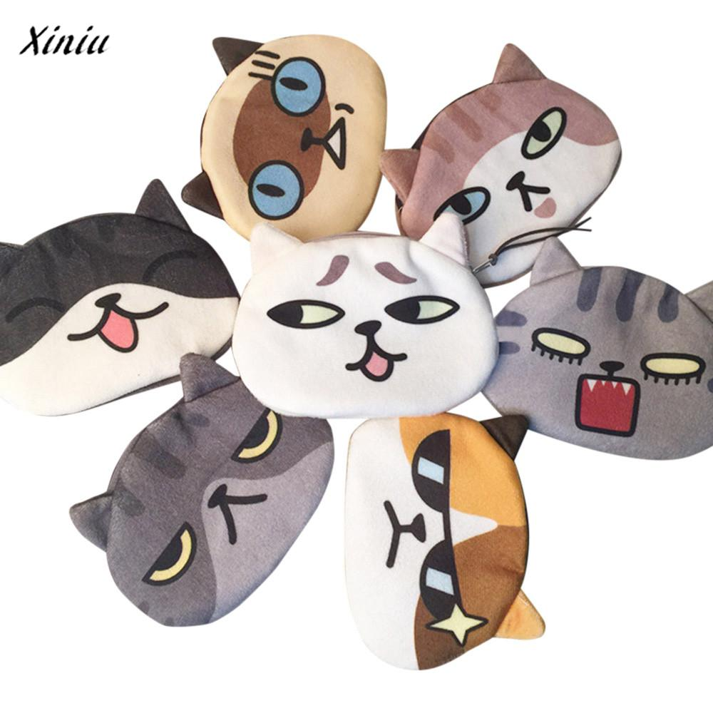 xiniu Women Cute cat wallet Print Cat Face Girl Plush Coin purse monederos para mujer Change Purse Bag Wallet