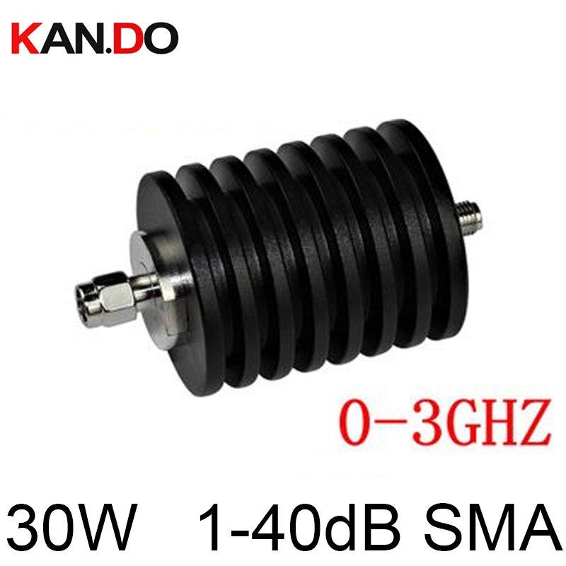 30W SMA Attenuator DC-3Ghz 1-40DB Option Attenuation Feeder Connector RF COAXIAL Jack 30W Power Attenuator 3ghz Attenuation