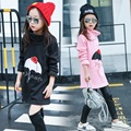 Girls Bottoming Shirt Long and Thick Velvet Korean Backing Clothes Kids Clothing Pink Grey Black Cotton
