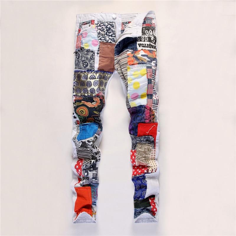 Top Quality White Patchwork Jeans Men Designer Brand Jean Elastic Pants Hip Hop Skinny Jeans Slim Fit Straight Fear Of God Jeans men s cowboy jeans fashion blue jeans pant men plus sizes regular slim fit denim jean pants male high quality brand jeans