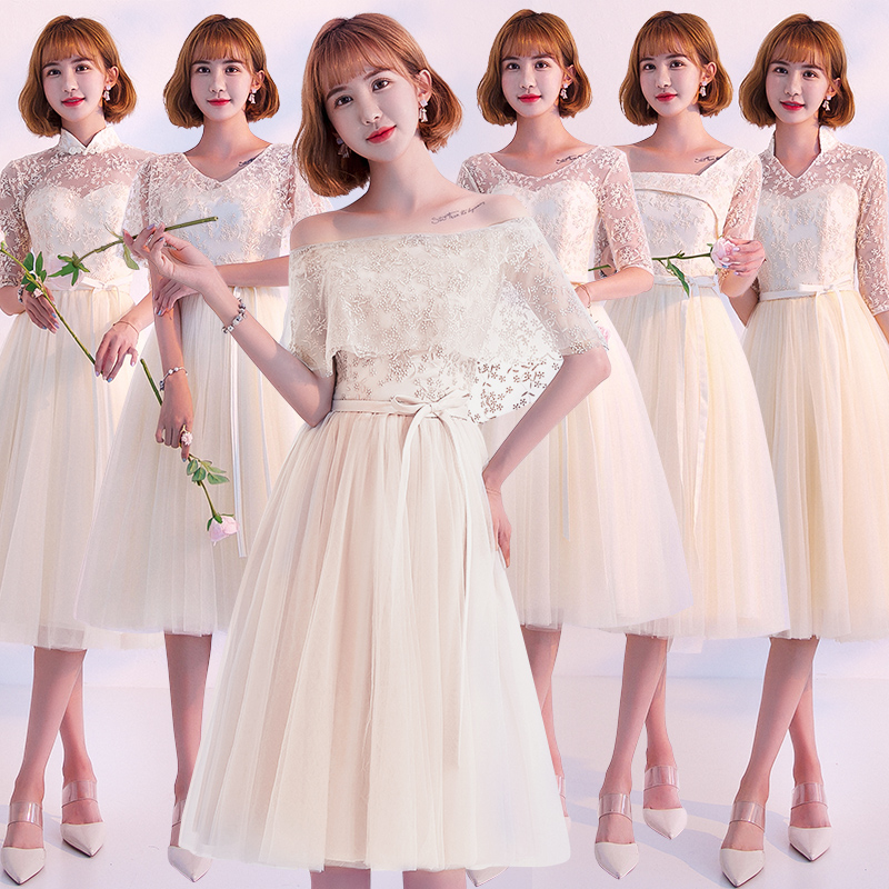 2018 New Stock Plus Size Women Pregnant Wedding Party Bridesmaid Dresses Backless Lace Sexy Romantic A Line Champagne Dress JYX