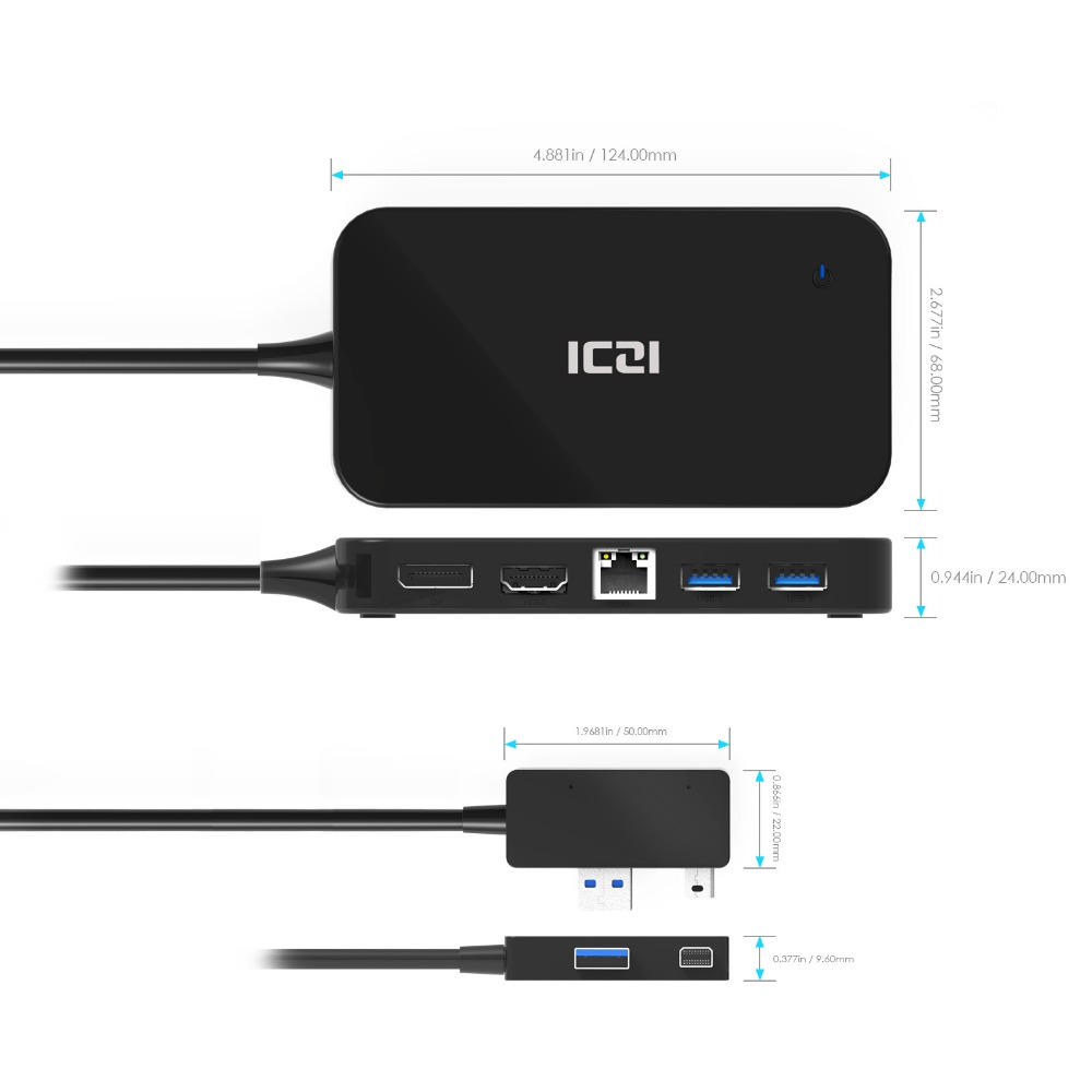 ICZI Surface Dock Hub with HDMI DP Ethernet & USB 2 0 3 0