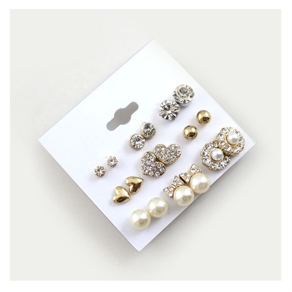 3dec039b0 12 Pairs Sets Round Square Ball Alloy Crystal Stud Pearl Earrings ...
