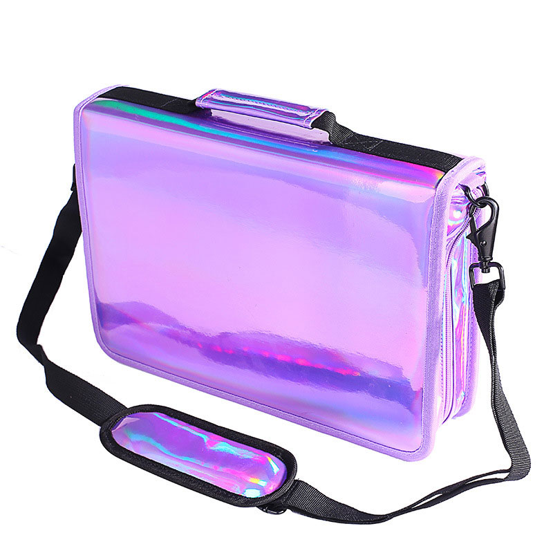 все цены на 160 Slots 4 Layer Hole Holographic Pencil Case Laser PU School Big Pencils Bag for 120 Watercolor Colored Pencil Marco Pens Case онлайн