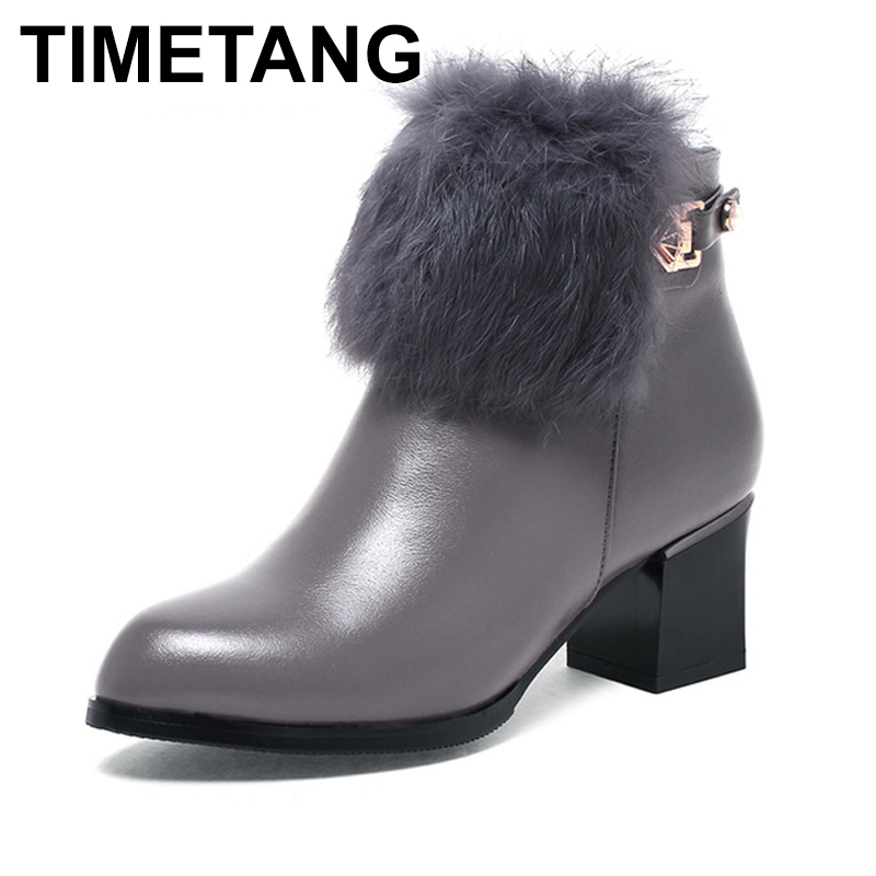TIMETANG  2017 Autumn Winter Women Shoes Woman Genuine Leather Rabbit hair Snow Boots Height Increasing Ankle Boots Women Boots TIMETANG  2017 Autumn Winter Women Shoes Woman Genuine Leather Rabbit hair Snow Boots Height Increasing Ankle Boots Women Boots