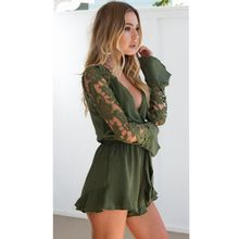 2019 European and American jumpsuit womens lace spell sexy long-sleeved ruffle shorts combinaison femme rompers