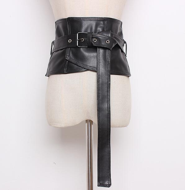 Women's Runway Fashion Wide PU Leather Cummerbunds Female Shirt Dress Corsets Waistband Belts Decoration Wide Belt R894