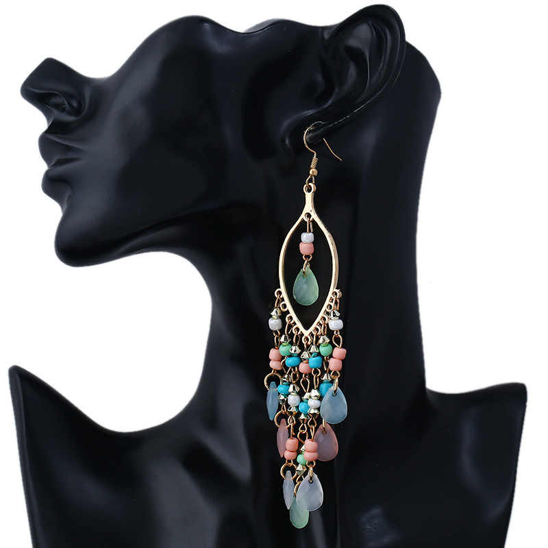 2018 New Bohemian hand-made ear studs vintage alloy earrings fall and winter long fringed pendant Earrings For Women Jewelry