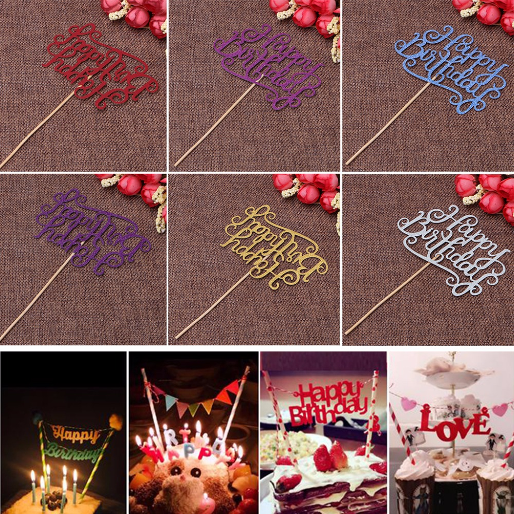 Decorator Supply: Dazzling Happy Birthday Letter Insert Card With Stick Cake