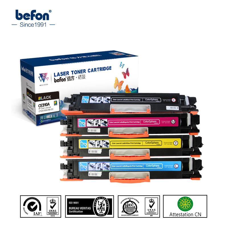 befon CE310A CE311A CE312A CE313A 126A Color Toner Cartridge Compatible for HP LaserJet Pro CP1025 M275 100 MFP M175a M175nw