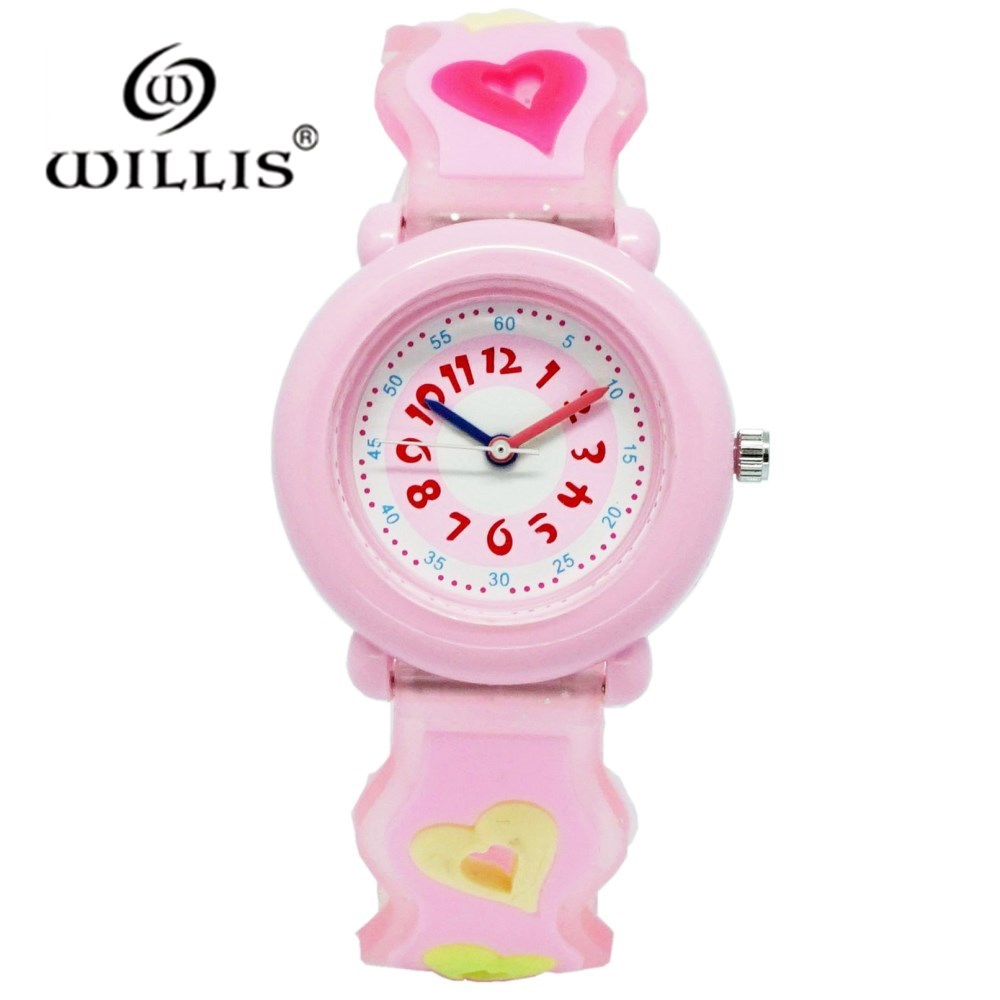 WILLIS Women Kids Watch Girls Children Pink Dress Wrist Watch Cute Child Cartoon Silicone Baby Clock Saat Relogio Montre Enfant