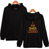 Fashion Sherlock Holmes Logo Zipper Hoodies Long Sleeves TV Sher Lock Hoodies Men Sportswear 4XL Hooded