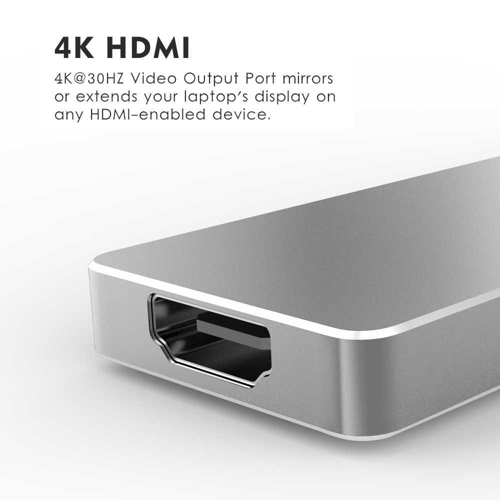 Wavlink Dual USB 3.1 Type-C Hub Naar HDMI Adapter 4K USB C Hub w/SD/ micro SD Kaartlezer 7 in 1 voor MacBook Pro 2019 2018 USB Hub