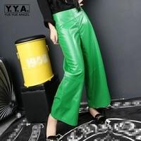 Fashion Womens Side Zipper Long Genuine Leather Sheepskin Pants Wide Leg Pants Loose Fit Broeken Woman Multi Color Plus Size
