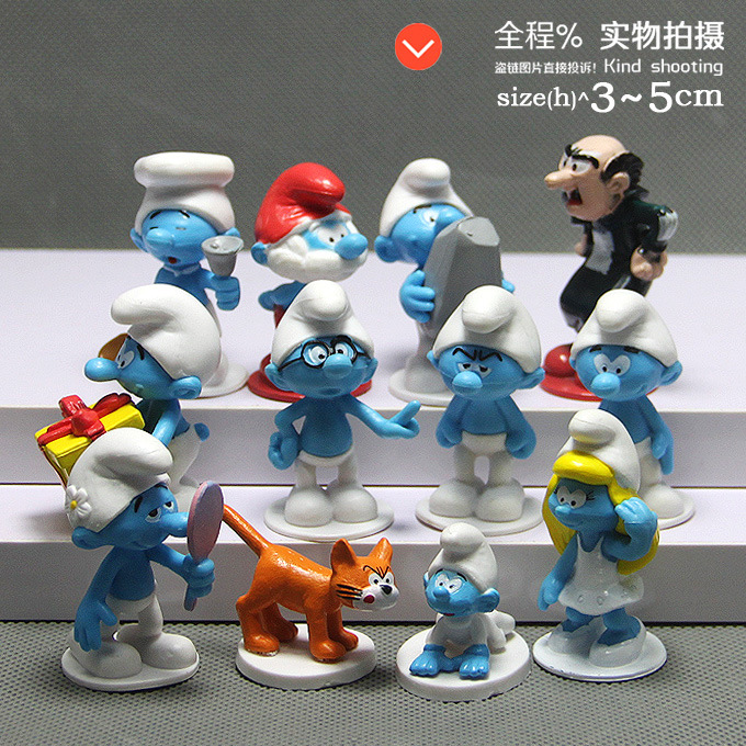 12pcs /lot High quality The Elves Papa Smurfette Clumsy Figures Elves Papa Action Toys Birthday gift toys for children 24 pcs set the elves papa smurfette clumsy figures elves papa action figure for children toys dolls blue color birthday gift
