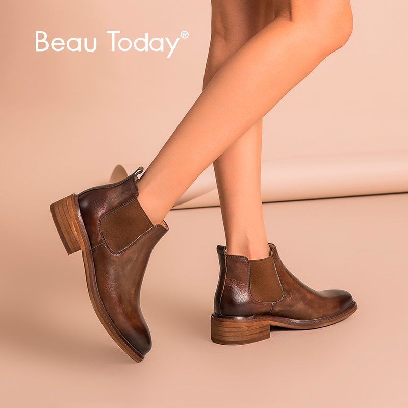 BeauToday Chelsea Boots Women Polished Cow Leather Round Toe Genuine Leather Elastic Band Lady Ankle Shoes