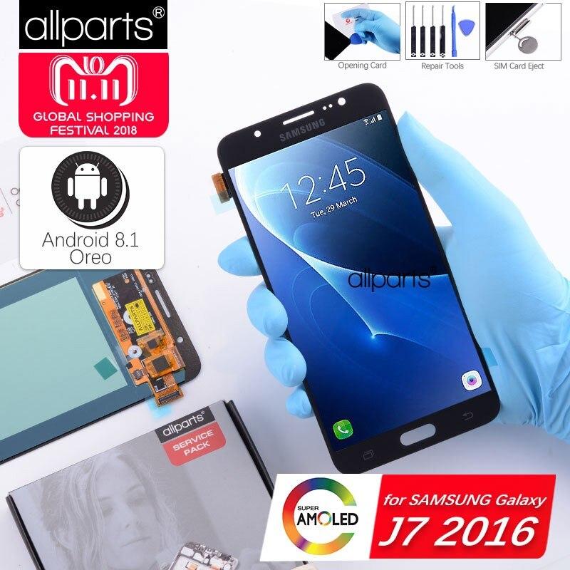 5.5'' Super AMOLED Оригинальный тачскрин дисплей экран для SAMSUNG Galaxy J7 2016сенсорный дисплей Оригинал LCD с тачскрином в рамке замена запчасти J710 J710F J710 Ч...