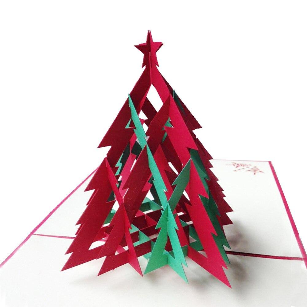 10pcs Red Green Christmas Tree 3d Laser Cut Pop Up Paper Postcards