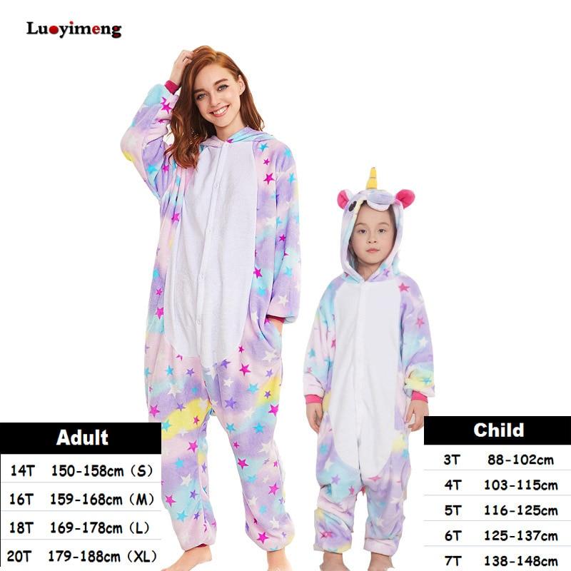 Kids Unicorn Pijama Adult Winter Pyjama Sleepwear For Women Boys Cartoon Homewear Onesie Kigurumi Pajamas Set Baby Girls Clothes