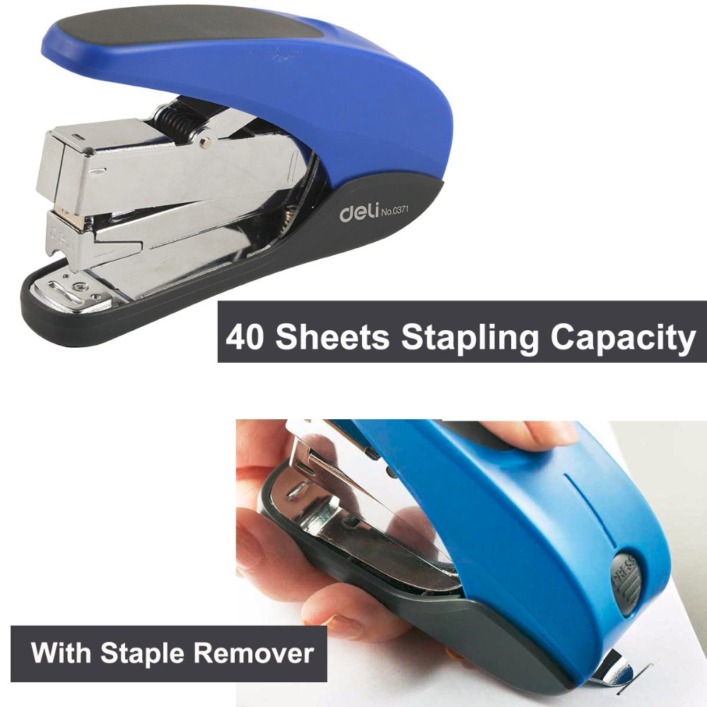 Deli Stapler for paper Low Force,40 Sheets Capacity,school heavy  Stapler Staples & Remover Office Supplies hot stapler smart repair replacement staples kit hs 013xf