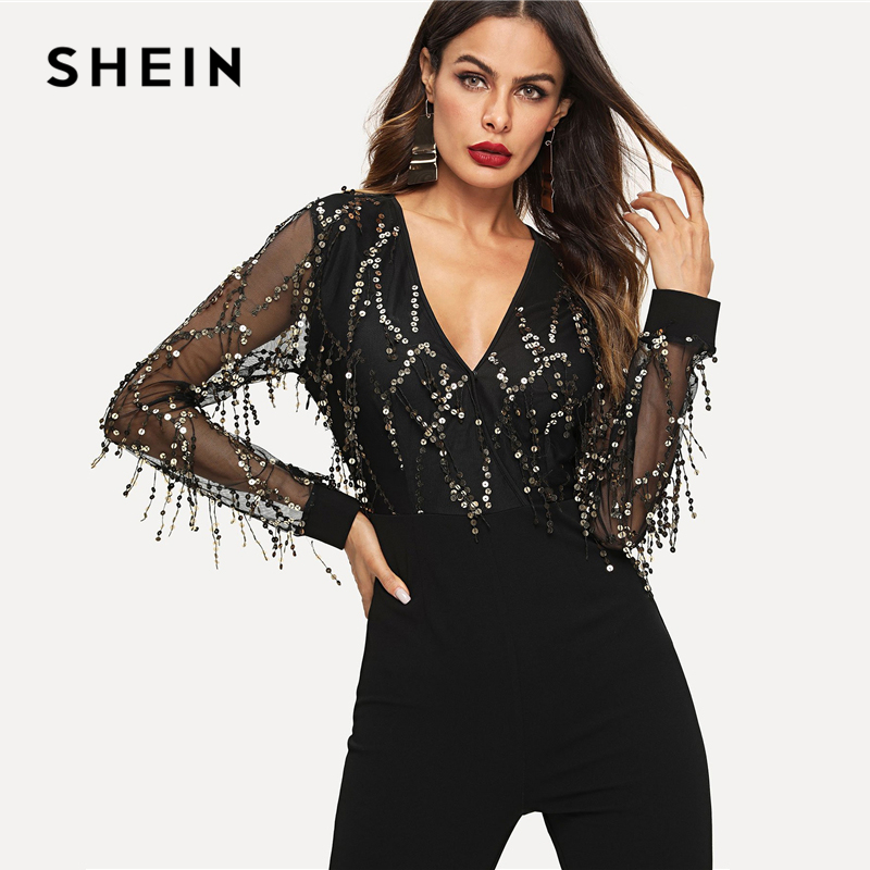 SHEIN Black Highstreet Sequin Embellished Mesh Sleeve Fitted Long Sleeve Skinny Jumpsuit Autumn Fashion Party Women Jumpsuits 2