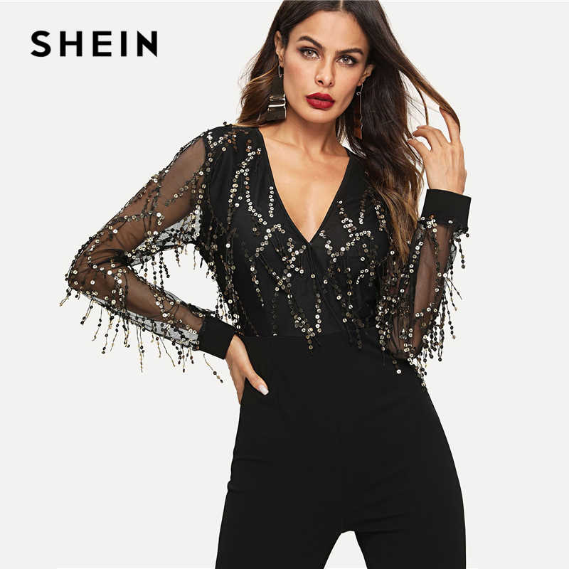 84fe850ab4f8 ... SHEIN Black Highstreet Sequin Embellished Mesh Sleeve Fitted Long  Sleeve Skinny Jumpsuit Autumn Fashion Party Women ...