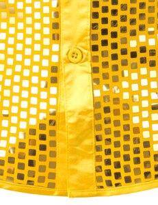 Image 5 - Chemise luxueuse, manches longues, soie, paillettes, Chemise de soirée en Satin brillant, Chemise de soirée, Chemise sur scène, danse, boîte de nuit, Costume de bal