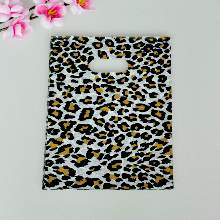 15*20cm 100pcs/lot Leopard Pattern plastic bag small jewelry packaging bags cute plastic gift bag shopping bags with handle