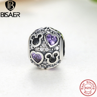 BAMOER Authentic 925 Sterling Silver Funny Baby Gift Mickey Heart Charms Fit Pandora Original Bracelets Amp