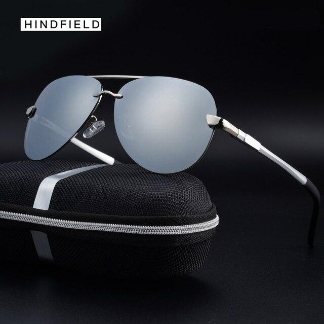25f5edadbcf11 Hindfleld tecnologia sem aro semi espelhado culos de aviador culos de sol  de prata homens esfriar