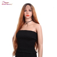 28inch Auburn Brown Natural Hairline Silky Soft Beauty Blogger Daily Makeup Long Wavy Synthetic Lace Front Wigs Golden Beauty