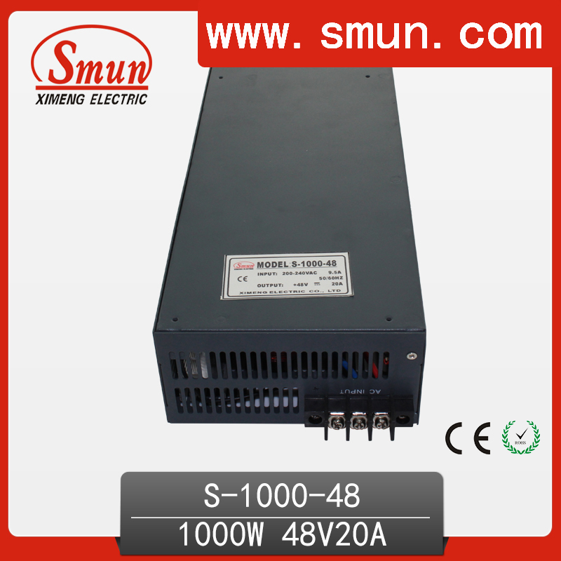 1000W 48V 20A single output switching power supply with CE ROHS from China Supplier industrial and led used ce rohs ms 50 24v ac dc mini size single output switching power supply from chines supplier