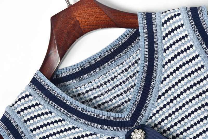 2019 летнее женское Полосатое платье для подиума без рукавов, v-образный вырез, высокий уличный свитер, вязаное платье с бантом и карманами, мини платье-футляр