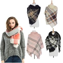 2016 New Fashion Women Ladies Oversized Tartan Plaid Blanket Scarf Shawl Soft Cozy Checked Bohemina Style Party Scarf Shawl Hot