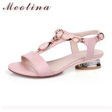 Meotina Chaussures Femmes Sandales À Bout Ouvert T-Bracelet Bohème Plage Bas talons Femme Chaussures D'été Cristal Sandales Rose Grande Taille 9 10