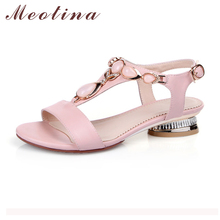 Shoes Women Sandals Open Toe T-Strap Bohemian Beach Low Heels Female Summer Shoes Crystal Sandals Pink Large Size 9 10