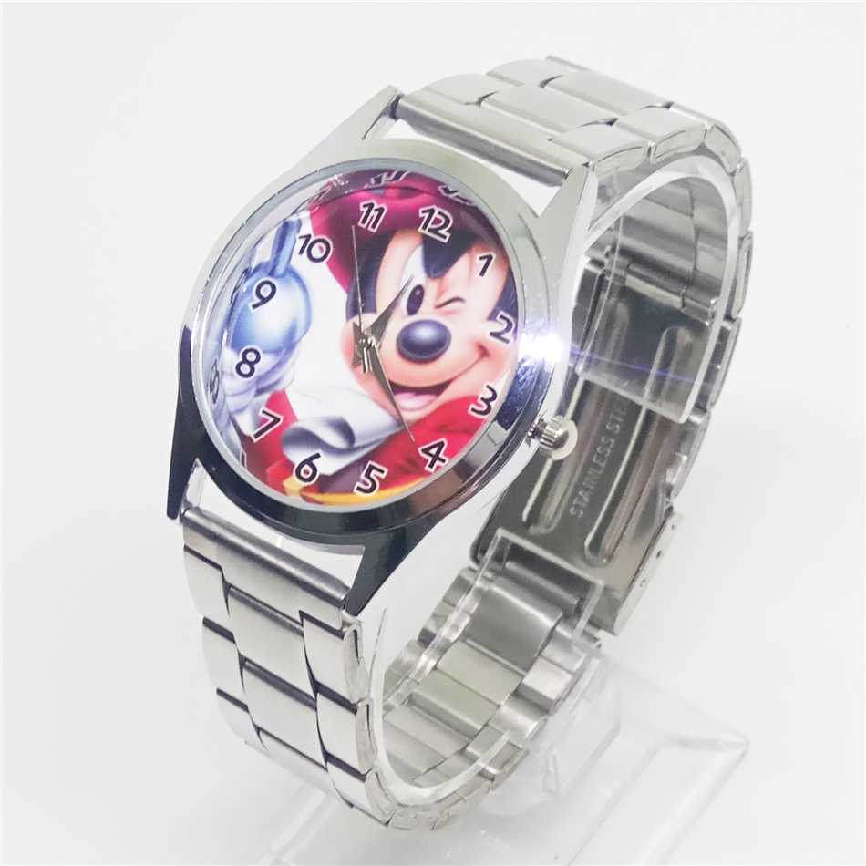 Children cartoon mouse watch women dress watches men stainless steel mickey minnie clock lovely kids wristwatches reloj mujer 2015 new fashion cute children cartoon watches big cat women dress watch rhinestone kids watches reloj mujer kids clock ac079