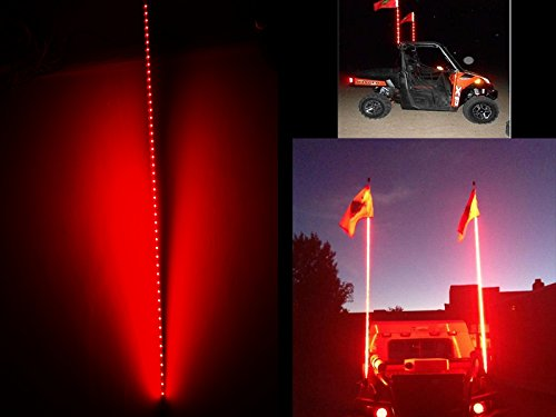 Verlichting Led Rail 5ft Red Fiber Optic Led Whip Antenna Led Safety Whip Flags