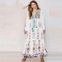 2017 boemia borla floral bordado maxi dress manga comprida vestidos florais vintage retro mulheres verão vestidos estilo boho chique