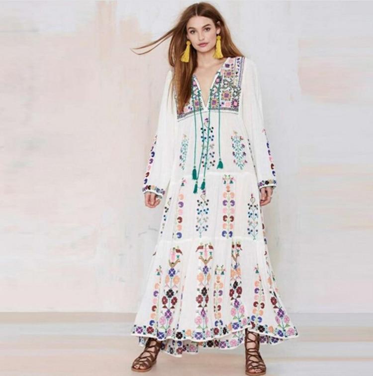 bordado borla de bohemia floral maxi dress vestidos retro vintage verano de las mujeres de