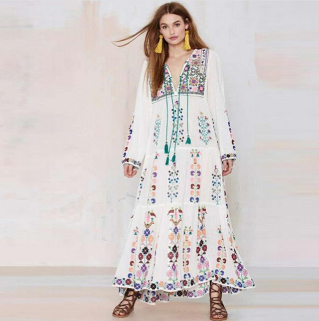 0ce42f86f0fd 2018 Bohemia Floral Tassel Embroidered Maxi Dress Long Sleeve Floral Dresses  Retro Vintage Women Summer Boho Chic Style Dresses